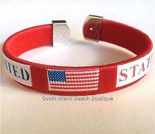 Patriotic USA Flag Bracelet Adjustable Cuff Woven Nylon Fabric US Seller July 4