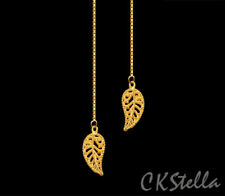 Threader 14K Gold Vermeil Thread Earrings *Ckstella* Gold Leaf Gp Leaves Garden