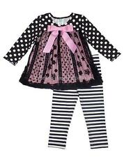 New Girls Boutique Peaches n Cream sz 6 Black Pink Flocked Outfit Fall Holiday