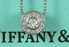 $1,700 Tiffany & Co Platinum 0.12ct Round Diamond Circlet Pendant 16'' Necklace