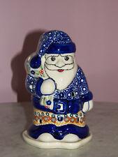 Polish Pottery Santa Tea Light! UNIKAT Signature Rembrandt Pattern!