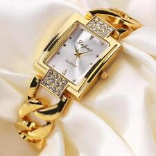 Womens Gold Bracelet Stainless Steel Analog Quartz Diamond Wrist Watch Watches