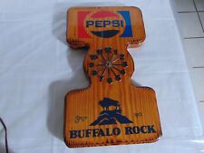 "Vintage PEPSI Buffalo Rock Solid 19x11"" Wood Wall Clock – Clock is Broken *READ*"