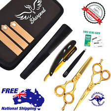 """5.5"""" Professional Barber Hairdressing Scissors Thinning & Hair Cutting Set Gold"""