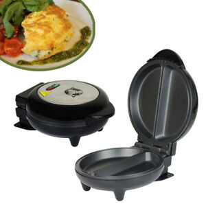 OMELETTE MAKER 750W ELECTRIC NON STICK KITCHEN EGG COOKER BLACK AND SILVER TOP