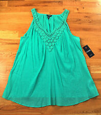 NWT CHAPS turquoise peasant embroidered sleeveless tank top (2X) MSRP $66