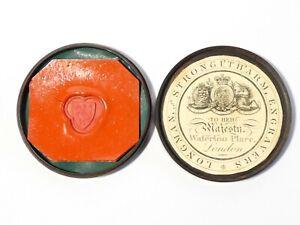19thC Wax Seal Sample Lignum Vitae Box Shield Axes by Longman Engraver #ES16