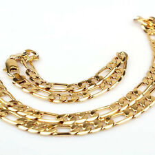 "23.6""/9"" 24k Gold Filled 10mm Mens Necklace Bracelet Set Figaro Chain Jewelry"