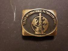 Vintage 1980 Handmade Solid Brass Belt Buckle TIPCO Texas International Petrol