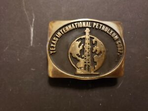 Vintage 1980 Handmade Solid Brass Belt Buckle TIPCO Texas International Petrol