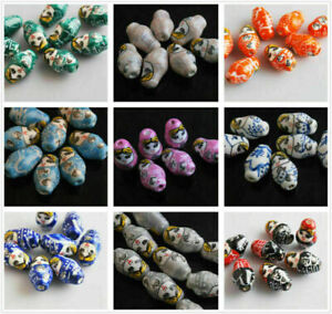 22mm Assorted Colors Spacer Bead Clay Charms Russian Doll Ceramic Girl Finding#