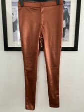 New Womens Disco Pants Size 10 Red Chilli Skinny Stretch Trousers Party Rust