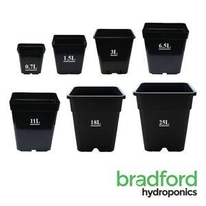 Square Plastic Black Plant Pots 0.7L, 1.5L, 3L, 6.5L, 11L,18L, 25L Soil/Coco.