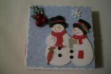 Hand Decorated Christmas Snowman Couple w/Holly Jewelry/Gift Card Box, Holder