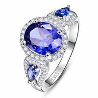Luxus 925 Sterling Silber Ring 8*10mm Sapphire Zirkon Damen Schmuck Geschenk Neu