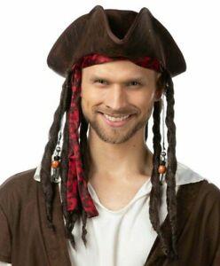 Deluxe Pirate Hat with Dreadlocks Halloween Fancy Dress Costume Captain Jack UK
