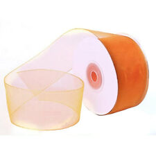 "1/4"" Plain Sheer Organza Nylon Ribbon 25 Yards - Orange"
