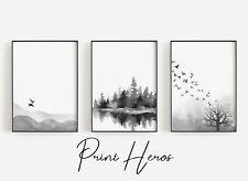 More details for black and white watercolour landscape scene art print modern living room quality
