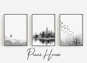 Black And White Watercolour Landscape Scene Art Print Modern Living Room Quality