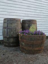 More details for large 45cm tall oak half barrel tree shrub bush flower garden planter pot tub