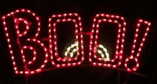NEW BOO Halloween Sign w/ Eyes Outdoor LED Lighted Decoration Steel Wireframe