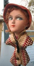 1920s VINTAGE MISCHIEVOUS LOOK FRENCH HAT STAND Mannequin Head MILLINERY DISPLAY