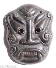 Vtg 19th Century Antique Japanese Noh Demon Oni Cast Iron Mask