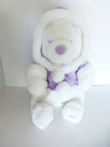 Disney Store Exclusive Holiday White Winnie POOH Bear Plush Lavender Coat w/Hat