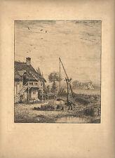 """LEON JACQUE EAU FORTE 1865 """"SCENE DE CAMPAGNE"""""""