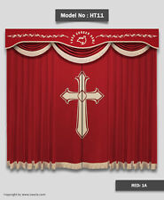 Saaria HT-11 16-OZ Velvet Curtains Church Stage Movie Hall Decor Drapes 12'Wx8'H