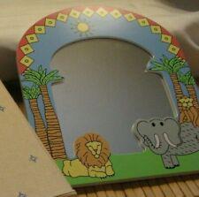Child Room Decor Framed Mirror Zoo Animals Lion Elephant Monkey Avon 1996