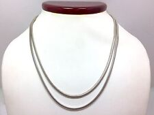 Modern 2mm Double Snake Chain Choker Layered Necklace 15 5/8 In Sterling Silv...
