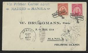 PHILIPPINES - SPAIN AVIATORS RAID AIR MAIL  CRASH COVER 1926 RARITY