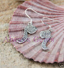 Measuring tape both sided detailed charm Earrings ,925 silver ear wire New