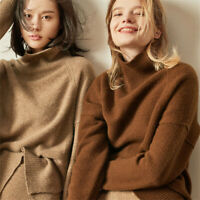 Women Oversize Pullover Jumpers Wool Blend Slouch Sweater Turtleneck Thick Warm