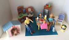 LARGE LOT FISHER PRICE LOVING FAMILY DOLL HOUSE FURNITURE KITCHEN TWIN BABIES ++
