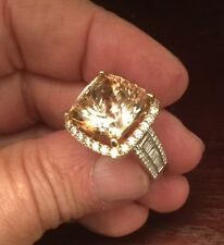 20 Carat Imperial Topaz Diamond Ring Two-Tone 14K 1.7ct VS1 size 8 - SEE VIDEO