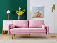 """71""""  Velvet  Futon Sectional Sofa U-Shaped Chaise With Pocket Pillow Pink Couch"""