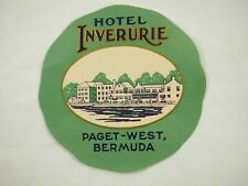 Hotel Inverurie Paget-West,Bermuda Vintage Luggage Label Sticker