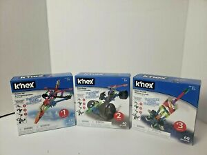 K'nex Collect & Build Complete Set Toy Lot 3 Jumbo Jet Dune Buggy Space Shuttle