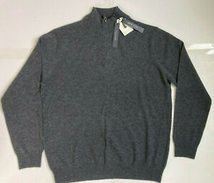 NWT TAHARI Pure Luxe Men's Cashmere Sweater Sz XL Quarter Zip Charcoal Grey