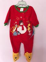 Disney Store Baby Bodysuit Plush Footed Christmas Sleeper Pj Winnie the Pooh