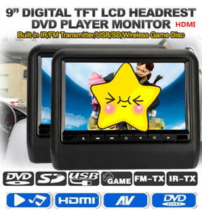 2pc 9'' Car Headrest Monitor DVD Player USB/SD/HDMI/Games TFT LCD Digital Screen