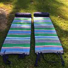 2 - Tommy Hilfiger Quilted Roll Up Beach Lounge Pillow Mat Blanket Carry Strap