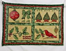 Christmas Place Mats Set Of 4 Tapestry Table Mats Holly Wren Red Green