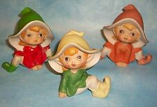 Homco Home Interiors Pixies, Elves, Gnomes, Fairies, Set of 3 Figurines #5213