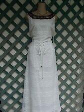 SANDRA DARREN IVORY BEADED CROCHET LACE PEASANT DRESS 18W NEW BEACH WEDDING