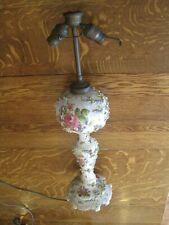 Antique Porcelain Lamp Carl Thieme  Applied Flowers Potschappel Germany 2 bulb