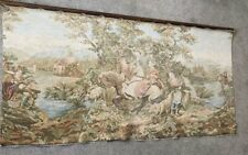 More details for huge tapestry french wall hanging 18th century style vintage fishing scene old