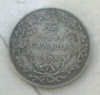 1908 Canada 25 Cents - Scarce Date